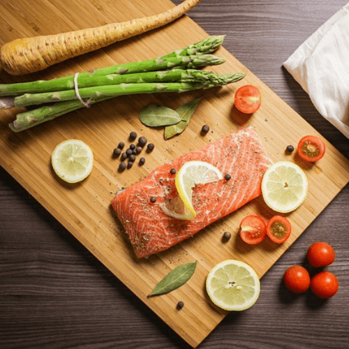 Healthy food including salmon, asparagus, and parsnips full of vitamin d