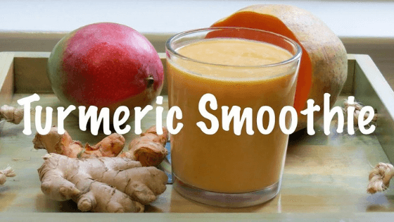 turmeric smoothy with different fruits and vegetables