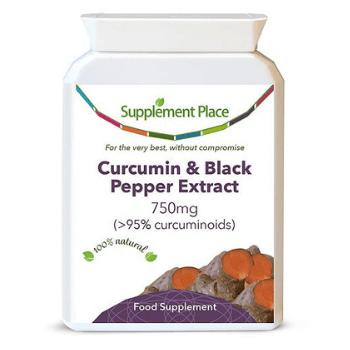 Curcumin and black pepper extract capsules from supplement place