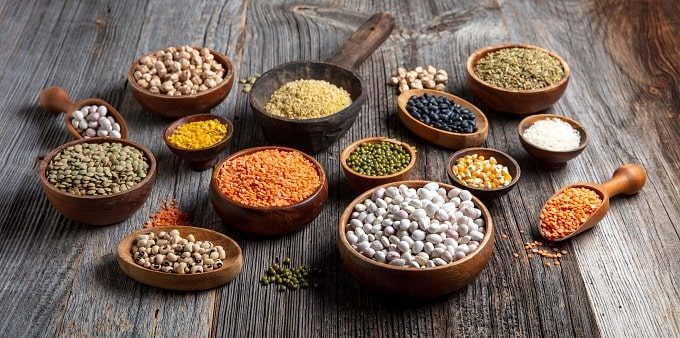 Beans, peas and lentils can provide essential minerals and vitamins.